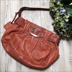 Tignanello Burnt Orange Leather Shoulder Bag